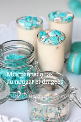 Pannacottas au nougat, aux éclats de dragées et macarons
